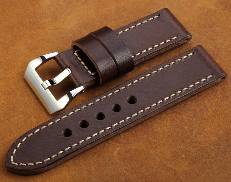 Drak-Brown-Leather-Watch-Straps-Handmade-waterproof-nano-watch-band-for-Panerai-HK-post-Free-shipping